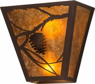 Meyda Tiffany 181141 Whispering Pines Country Mahogany Bronze / Amber Mica Wall Sconce Light