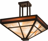 Meyda Tiffany 181342  T  Mission Tiffany Oil Rubbed Bronze Double Amber Frosted Inside Flush Mount Ceiling Light Fixture