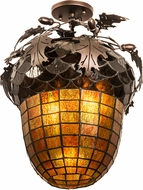 Meyda Tiffany 181660 Oak Leaf & Acorn Rustic Mahogany Bronze Flush Ceiling Light Fixture