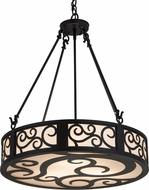 Meyda Tiffany 182048 Dean Textured Black Alabaster Acrylic Drum Hanging Pendant Lighting