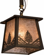 Meyda Tiffany 182068 Mountain Pine Antique Copper / Silver Mica Indoor / Outdoor Mini Pendant Hanging Light
