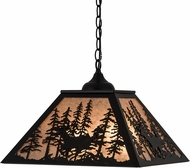 Meyda Tiffany 183017 Deer through the Trees Textured Black / Silver Mcia Pendant Light