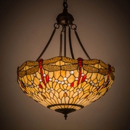 Meyda Tiffany 183023 Tiffany Hanginghead Dragonfly Tiffany Mahogany Bronze Pendant Light Fixture