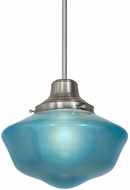 Meyda Tiffany 183305 Revival Schoolhouse Crystal Blue Brushed Nickel Hanging Light Fixture