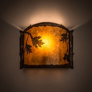 Meyda Tiffany 183372 Oak Leaf & Acorn Antique Copper Amber Mica Silver Mica Lighting Wall Sconce