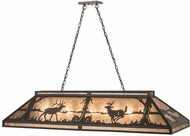 Meyda Tiffany 184266 Elk & Deer at Lake Rustic Timeless Bronze / Silver Mica Island Light Fixture