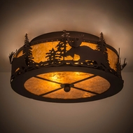 Meyda Tiffany 184267 Moose at Dusk Country Mahogany Bronze / Amber Mica Home Ceiling Lighting