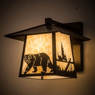 Meyda Tiffany 184742 Stillwater Northwoods Lone Bear Beige Exterior Wall Mounted Lamp