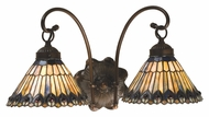 Meyda Tiffany 18526 Tiffany Jeweled Peacock Tiffany Mahogany Bronze Finish 10  Tall Lamp Sconce