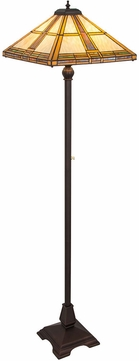 Meyda Tiffany 185696 Prairie Straw Tiffany Amber Honey Mahogany Bronze Floor Light