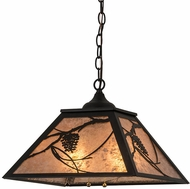 Meyda Tiffany 185768 Whispering Pines Textured Black / Silver Mica Drop Lighting Fixture