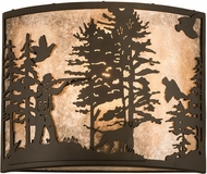Meyda Tiffany 185804 Quail Hunter w/ Dog Oil Rubbed Bronze / Silver Mica Sconce Lighting