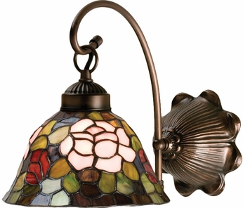 Meyda Tiffany 18708 Tiffany Rosebush Tiffany Purple / Blue / Burgundy / Pink / Mahogany Bronze Wall Lamp