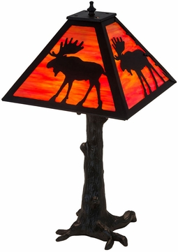 Meyda Tiffany 187276 Lone Moose Textured Black Table Lamp