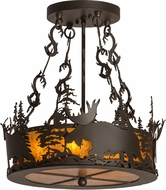 Meyda Tiffany 187290 Moose at Dusk Oil Rubbed Bronze / Amber Mica Drum Drop Lighting