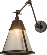 Meyda Tiffany 187296 Kensington Craftsman Brown Textured Clear Glass Wall Swing Arm Lamp