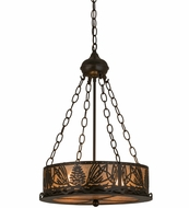 Meyda Tiffany 18751 Mountain Pine Timeless Bronze/Silver Mica Drum Pendant Light Fixture