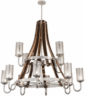 Meyda Tiffany 187997 Barrel Stave Winter Maple Hammered Brushed Nickel Hanging Chandelier