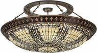 Meyda Tiffany 188440 Fleur-de-lis Tiffany Beige Ha Green / Blue Amber Ceiling Light Fixture