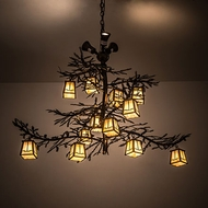 Meyda Tiffany 188463 Pine Branch Valley View Antique Copper Halogen Chandelier Light