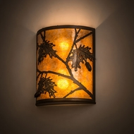 Meyda Tiffany 188603 Oak Leaf & Acorn Antique Copper / Amber Mica Lamp Sconce
