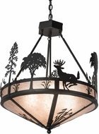 Meyda Tiffany 189077 Deer on the Loose Country Bronze Hanging Lamp
