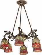 Meyda Tiffany 189344 Red Rosebud Tiffany Lighting Chandelier