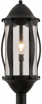 Meyda Tiffany 189656 Auvillar Clear Seeded Glass Old Wrought Iron Outdoor Post Lamp