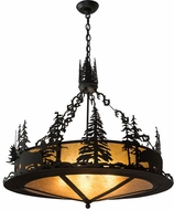 Meyda Tiffany 189730 Wildlife at Dusk Country Textured Black / Amber Mica Drum Drop Ceiling Lighting