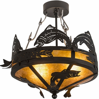 Meyda Tiffany 189731 Catch of the Day Rustic Textured Black / Amber Mica Flush Mount Ceiling Light Fixture