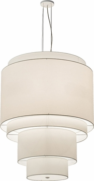Meyda Tiffany 189908 Cilindro Laura Cream White Powder Coat Fluorescent Drum Ceiling Pendant Light