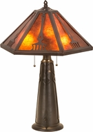 Meyda Tiffany 190085 Grenway Amber Mica Verdi Washed Mahogany Bronze Table Light