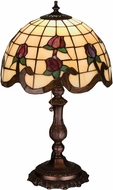 Meyda Tiffany 19139 Roseborder Tiffany Beige Burgundy Table Lighting