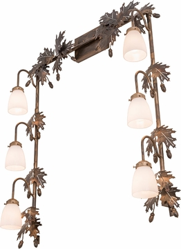 Meyda Tiffany 191400 Oak Leaf & Acorn Country White Glass Dark Burnished Antique Copper Bathroom Light