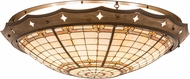 Meyda Tiffany 191949 Fleur-de-Lite Tiffany Beige Ha Green / Blue Bai Amber Ceiling Lighting Fixture