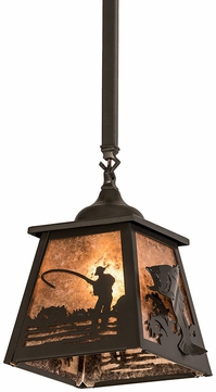 Meyda Tiffany 192002 Fly Fishing Silver Mica Timeless Bronze Mini Hanging Pendant Light