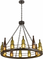 Meyda Tiffany 192173 Tuscan Vineyard Retro Antique Green / Amber Flat Black Hanging Chandelier