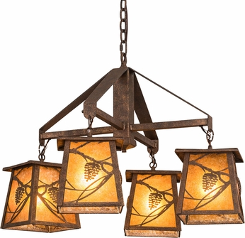 Meyda Tiffany 192455 Whispering Pines Amber Mica Rococco Chandelier Light