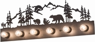 Meyda Tiffany 193240 Bear Family Country Amber Mica Textured Black Bathroom Lighting Fixture