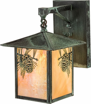 Meyda Tiffany 193441 Seneca Winter Pine Bai Craftsman Verde Outdoor Wall Lamp