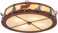 Meyda Tiffany 193545 Elk at Dusk Country Botticino Idalight Rust / Green Trees Flush Mount Lighting Fixture
