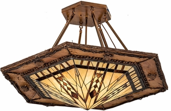 Meyda Tiffany 193673 Sonoma Tiffany Beige & Xag Vintage Copper Flush Ceiling Light Fixture