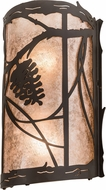 Meyda Tiffany 193755 Whispering Pines Rustic Silver Mica Oil Rubbed Bronze Sconce Lighting