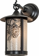Meyda Tiffany 194138 Fulton Winter Pine Clear Granite Black Satin Wrought Iron Exterior Lighting Sconce