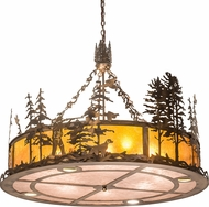 Meyda Tiffany 194591 Rustic Dark Burnished Antique Copper Drum Drop Ceiling Light Fixture