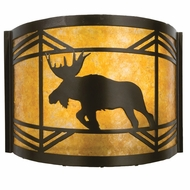 Meyda Tiffany 23822 Lone Moose Rustic Timeless Bronze / Amber Mica Wall Light Fixture