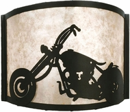 Meyda Tiffany 23826 Motorcycle Black / Silver Mica Lighting Wall Sconce