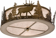 Meyda Tiffany 24467 Elk at Dusk Country Antique Copper / Silver Mica Ceiling Light