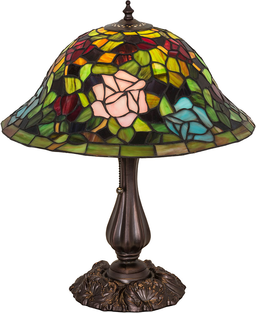 Meyda Tiffany 26489 Tiffany Rosebush Tiffany Purple Blue Burgundy Pink Lighting  Table Lamp. Loading Zoom