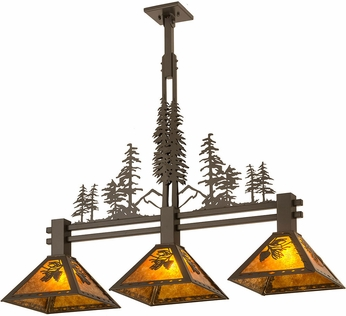 Meyda Tiffany 27073 Tall Pines Country Amber Mica Timeless Bronze Island Lighting